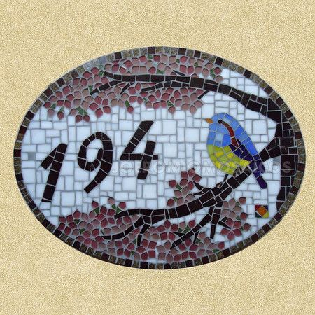 Numeral em mosaico Pássaro na Cerejeira - Oval