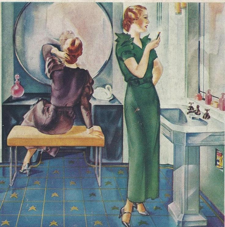 Vintage Powder Room, C. 1930.