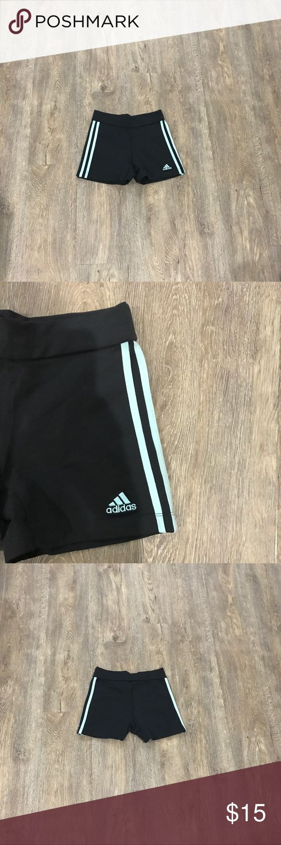 Adidas running shorts Black and teal adidas running shorts/spandex. Worn but no tears or stains. They do stretch. Very comfortable. Size small. adidas Pants Track Pants & Joggers