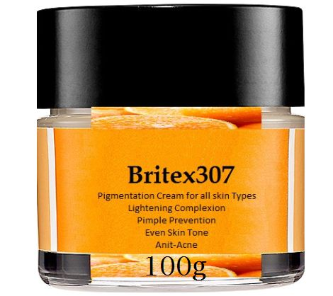 Britex307 Pigmentation Cream For All Skin Types works great for lightening dark spots, lightening complexion, removing age spots, removing sun spots, pimple prevention and acne blemishes. Britex307 is made with the highest quality ingredients of Vitamin E, Ascorbic Acid (Vitamin C), Azelaic Acid and Affiant Parabens.