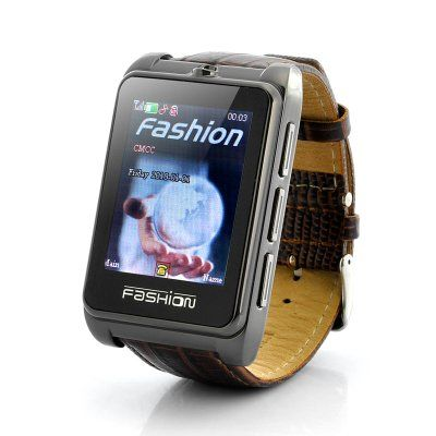 "Watch Phone ""Smooth Operator"" - 1.8 Inch Touchscreen, Leather Strap  Wrist watch mobile phone with a genuine leather strap and a 1.8 inch touch screen, perfect for the smooth operator looking for geek chic electronics."