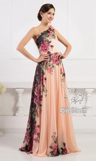 uzun abiye elbise tek omuz askılı çiçek desen baskılı muhteşem elbise,uzun abiye,abiye elbise,ucuz abiye,mezuniye