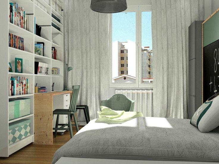 Chambre garçon, lit et étagères Ikea,lit escamotable, image virtuelle 3d