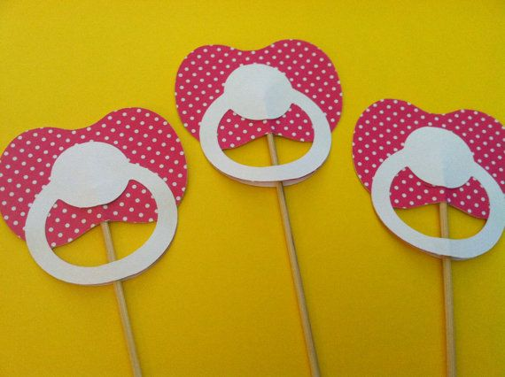 3 Pacifiers on a sticks, Baby Girl shower photo props, New baby Girl props, photo booth props