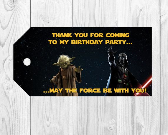 Star Wars Party Favor Tags or Thank You Tags  by Printadorable