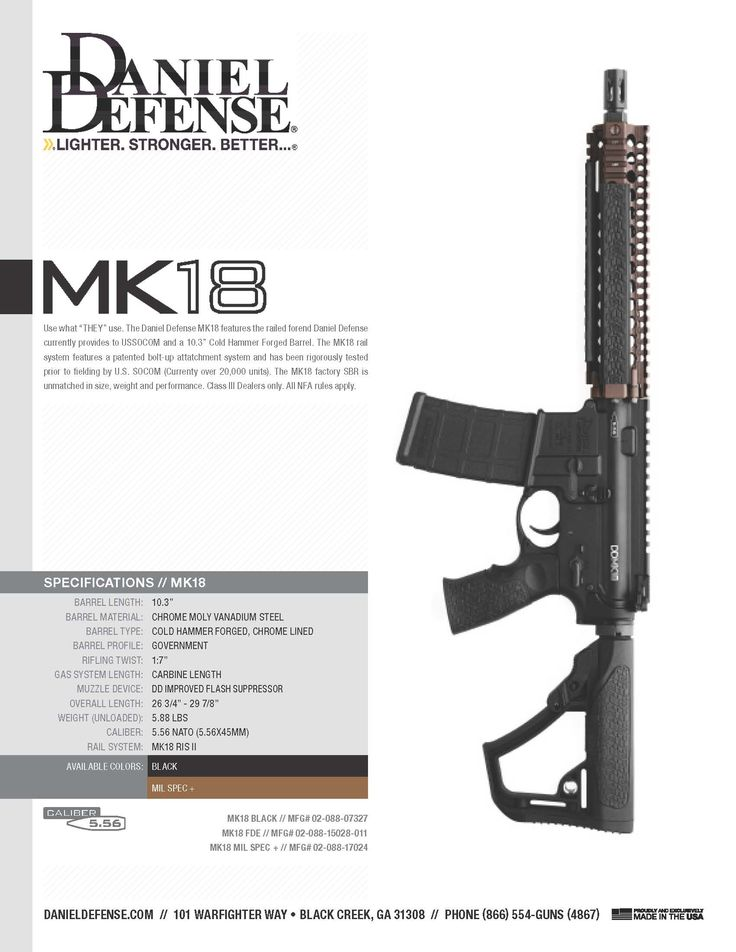 Daniel Defense MK18 - Factory SBR https://danieldefense.com/daniel-defense-m4-carbine-mk18-factory-sbr-black.html