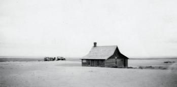 During depression drought hit the prairies (Alberta and Saskatchewan) and created a dust bowl. Over time, precipitation was becoming more scarce, dust storms were forming, homes were buried in layers of sand inside and out, making them uninhabitable. Drifted soil near Cadillac, 1937: a common sight during the Great Depression;Saskatchewan Archives Board R-A3368