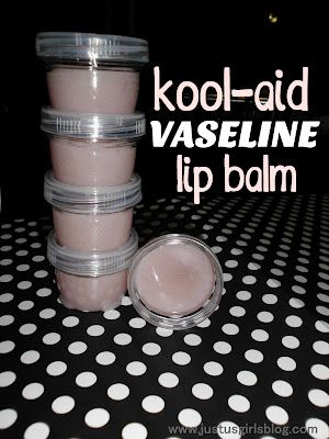 Kool-Aid & Vaseline Lip Balm, this says for girls. Whatevs, Benjamin and I aren't defined by archaic gender stereotypes. Ben hates chapstick but always gets chapped lips. This could be a great way to get him to start using lip balm!