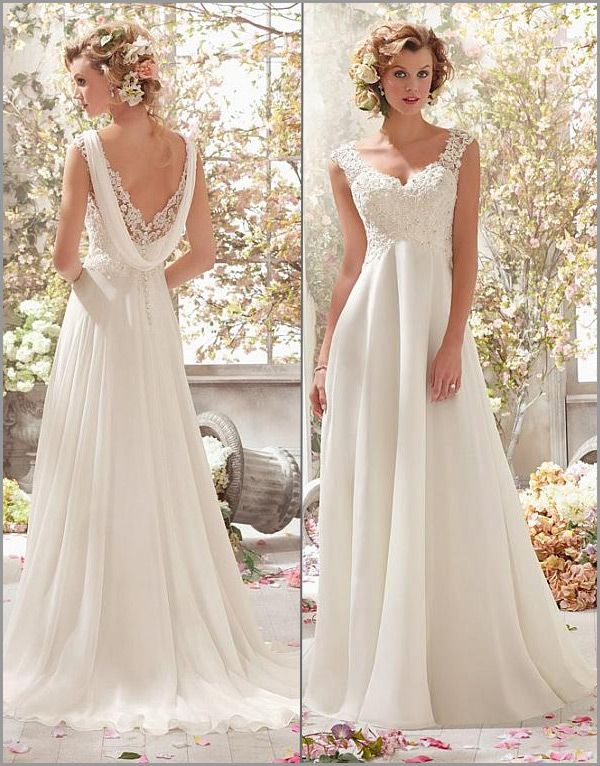 Stunning Tulle & Organza Satin & Chiffon V-neck Raised Waistline A-line Wedding Dress