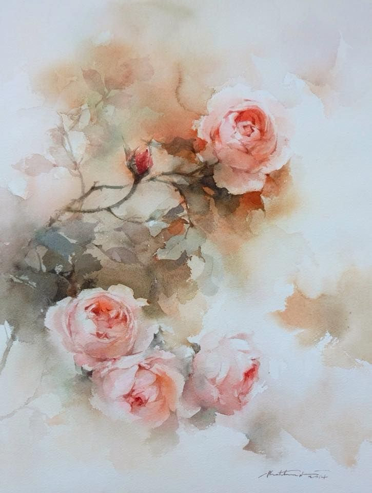 Phatcharaphan 39 s roses tutorial watercolor technique 5 for How to paint a rose watercolor