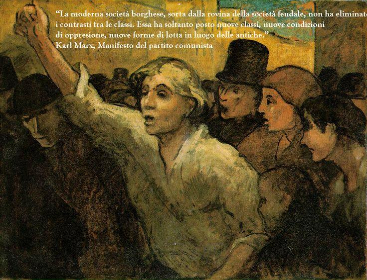 """""""Il Sollevamento"""" di Honorè Daumier é l'opera che mostra il sollevamento delle classi chiedendo giustizia sociale, si vede un giovane che chiede e ricerca la giustizia tra le classi. Marx parla su questo nel suo libro """"Manifesto del partito comunista"""""""