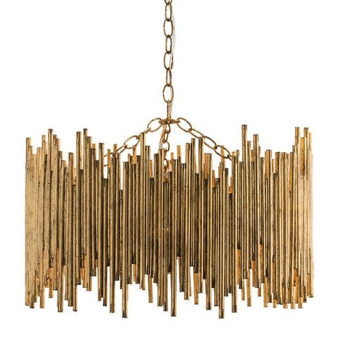 "A striking chandelier comprised of individual iron rods that have been welded together and hand-finished with gold leaf. Also available as a sconce. - Dimensions: 22""Dia x 13.5""H - Materials: Iron - F"