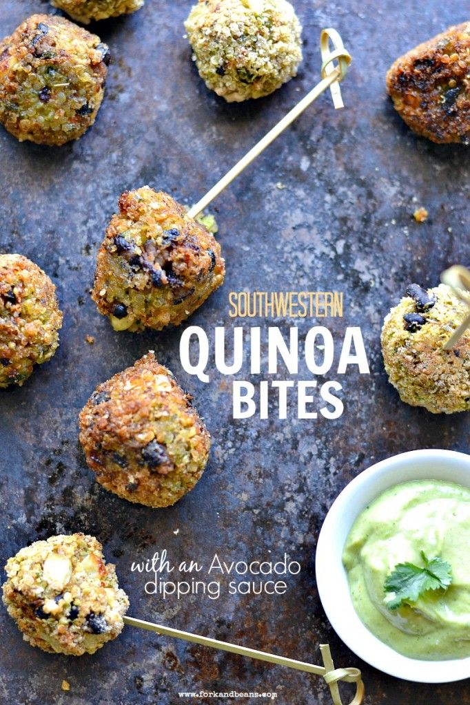 Southwestern Quinoa Bites with Avocado Dipping Sauce via Fork & Beans #protein #appetizer #superbowl