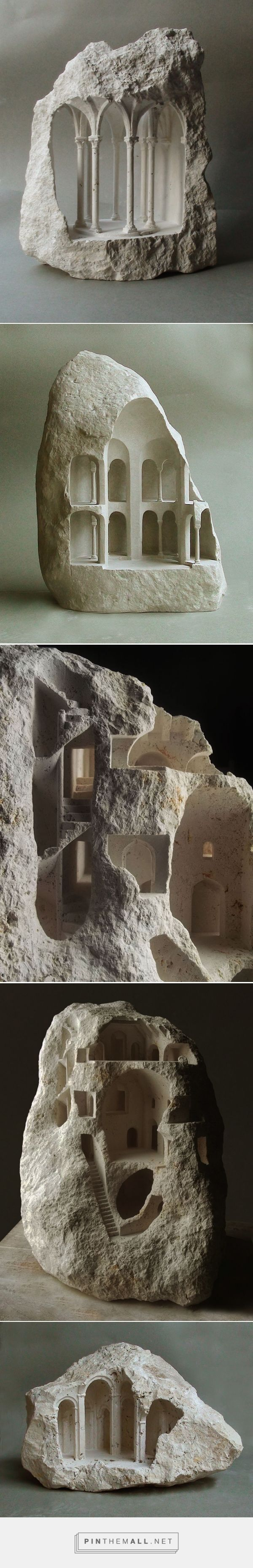 New Miniature Architectural Structures Carved Into Raw Stone by Matthew Simmonds   Colossal - created via https://pinthemall.net