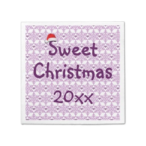 Sweet Christmas Snowflake heart pattern in purple-lavender color / Paper Napkins pack of 50 - Custom date! #fomadesign