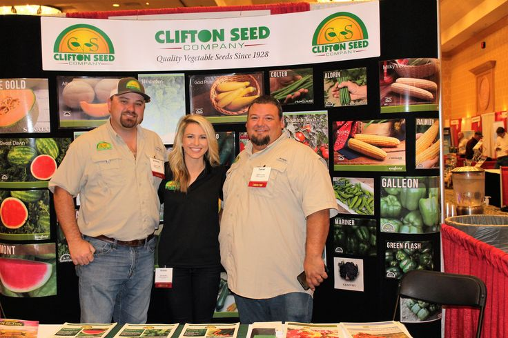 Representing Clifton Seed Company at the SE Veg. & Fruit Expo from left to right: Jonathan Wilks, Sales Rep. NC SC, VA, MD, DE // Brooke Britt, Marketing & Advertising Specialist // Daniel Odom, Inside Sales Rep. [Myrtle Beach, SC   Nov. 2016]