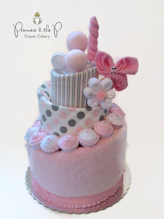 Pink & Grey Sweet Treats Diaper Cake, Topsy Turvy Diaper Cake, Baby Shower, Centerpiece, Decoration, washcloth lollipop, cupcake on Etsy, $149.95