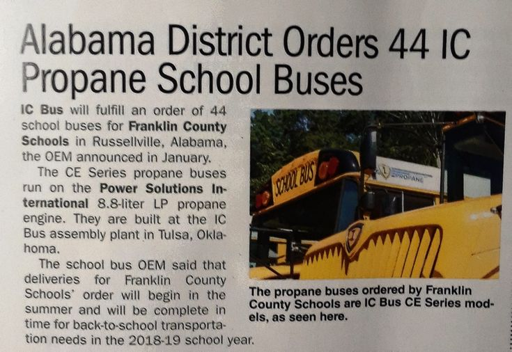 Franklin County Schools In Russellville, Alabama Ordered 44 IC-CE Series Propane Powered School Buses To Add To Their Fleet.