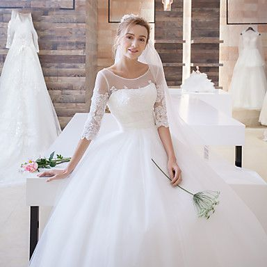 Ball+Gown+Wedding+Dress+Sweep+/+Brush+Train+Scoop+Satin+/+Tulle+with+Appliques+–+CAD+$+222.39