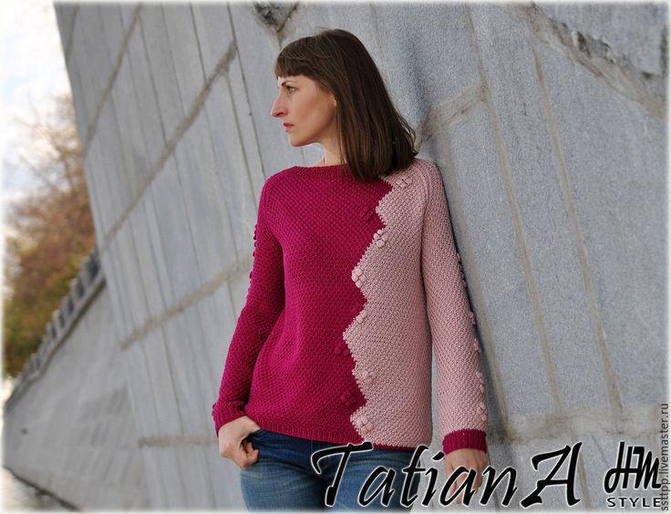 """Купить Двухцветный хлопковый свитер ручной работы """"Пионовый август""""…"""