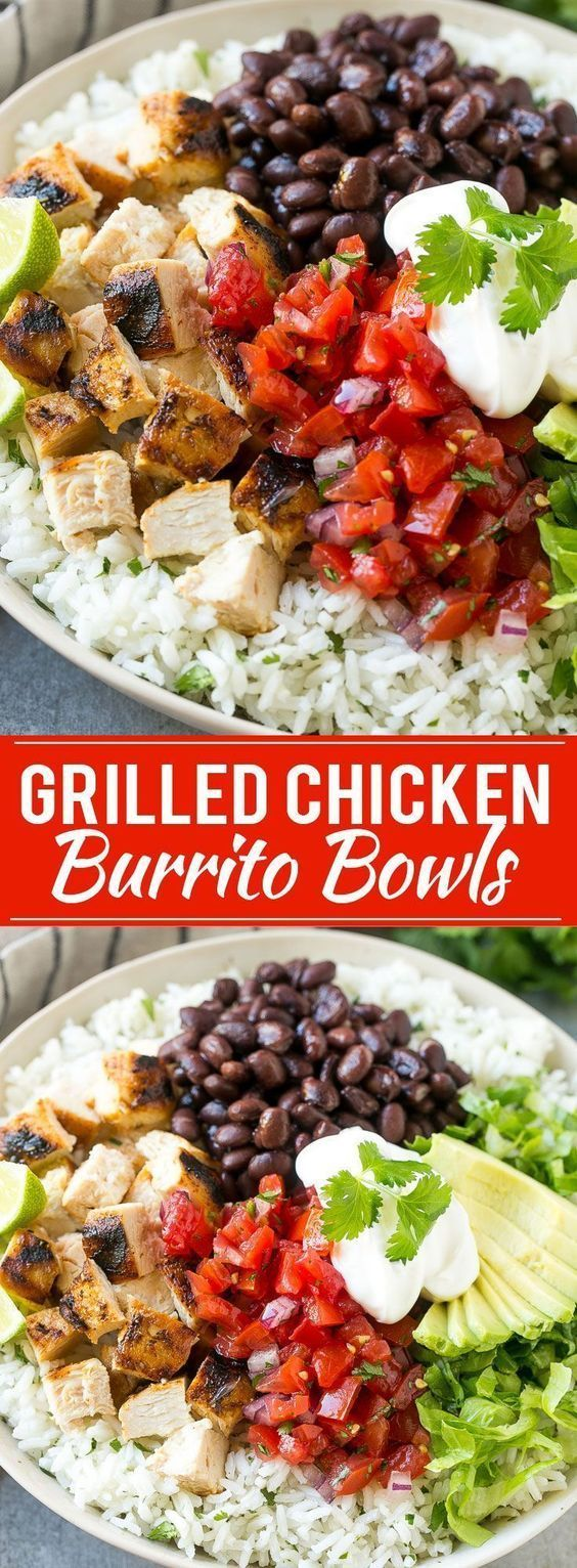 These burrito bowls are loaded with marinated grilled chicken, cilantro lime rice, black beans and a variety of fun toppings. This recipe will become a dinner time staple at your house! #chickenrecipeshealthymexican