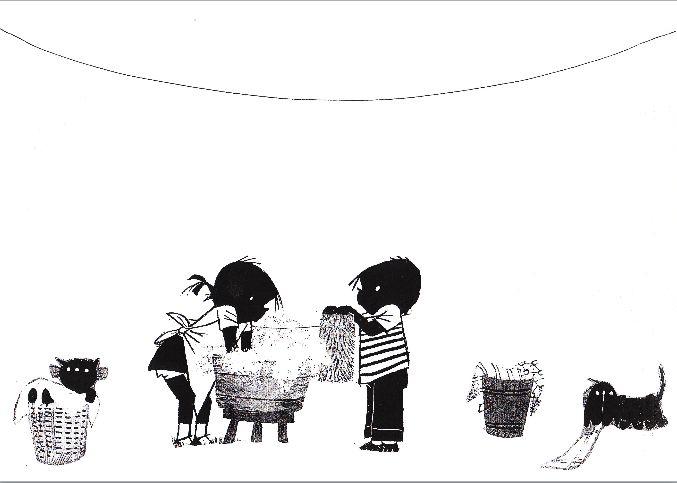 Jip en Janneke hangen de was op. De kinderen maken de kleertjes.