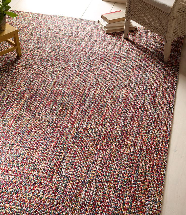 Allweather braided rug concentric pattern rectangular