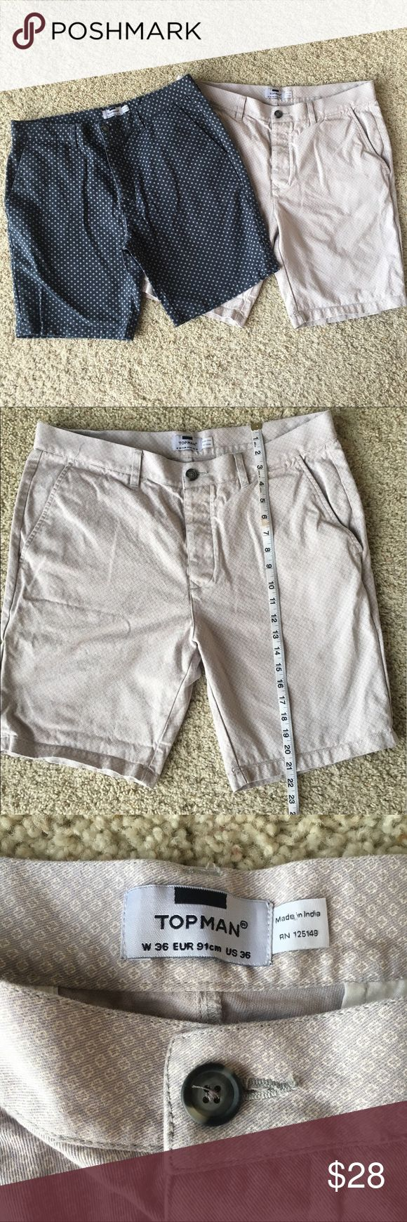 Bundle of 2 Topshop Topman Men's shorts 36 Bundle of 2 TopShop Topman shorts. Both same pattern but opposite colors. Size 36. Please see photos for measurements. Not flaws: only some fade from wash. In good condition! Topshop Shorts