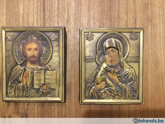Russisch orthodoxe iconen achter koper handgeschilderd - Te koop