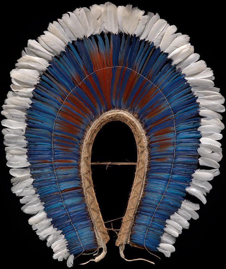 Brazil | Mebêngôkre krokrokti (feather headdress or cape); Macaw feathers, heron feathers, cotton cordage | ca. 1990