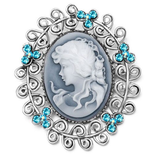 Antique Vintage Cameo Brooches Gray Oval White Beauty Aquamarine Crystal Pin  Brooch, Brooches U0026 Pins, Vintage   Pugster.com