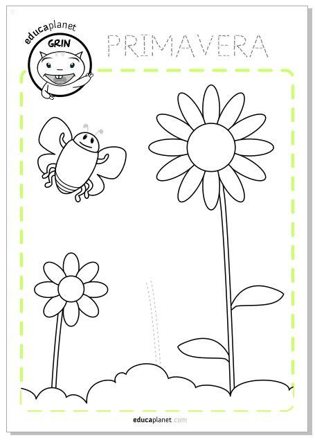 Una actividad sobre la PRIMAVERA GRATIS. Imprime y colorea FICHAS para Preescolar e Infantil para trabajar números, letras y creatividad en el aula.