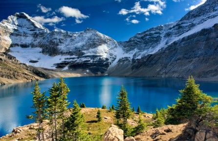 Download Mountain with blue lake 4k wallpaper for free. Come and find more 4k Ultra hd wallpapers of Nature