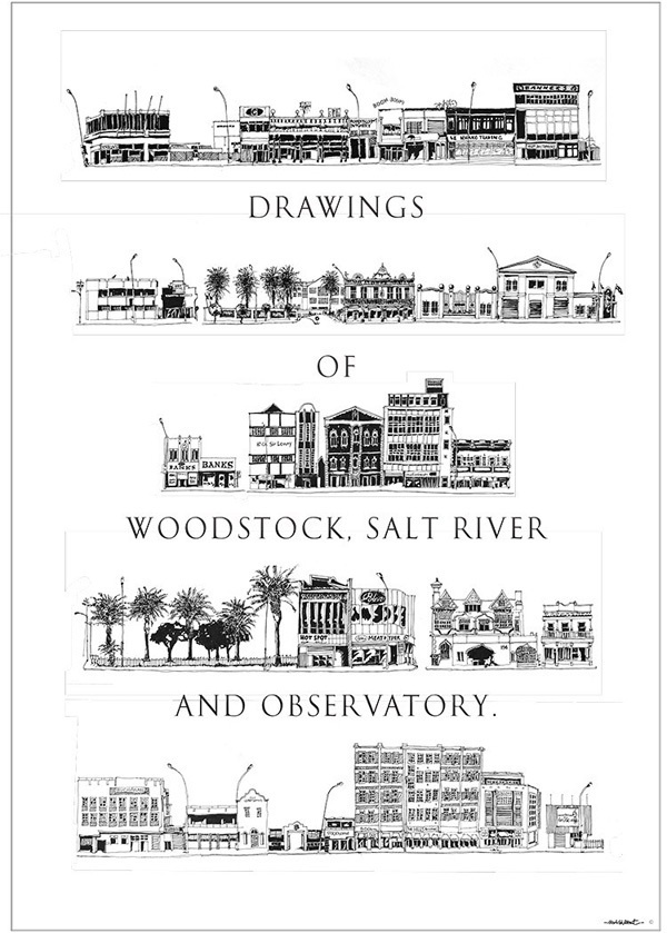 Drawings of Woodstock, Salt RIver and Observatory in Cape Town