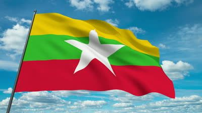 Myanmar flag waving against time-lapse clouds background | stock ...