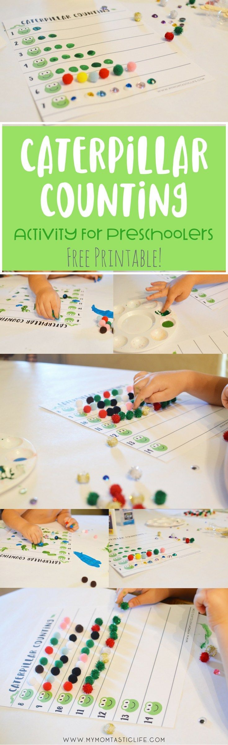 This activity is great for preschoolers, especially if you're doing a bug theme like us! It combines fine motor development and counting into one fun and easy activity. Download your copy of the worksheet for free!  Printables | Activities for Kids | Activities for Toddlers | Bug Theme Preschool Ideas | Crafts for Kids | Learning Activities | Worksheets | Free