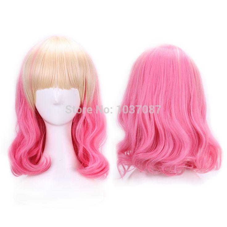 40 см Harajuku косплей аниме парик для ну вечеринку вьющиеся высокое качество синтетические волосы светлые розовый ломбер парик женщины Peruca Perucasкупить в магазине B-COSERнаAliExpress