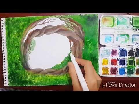 2 Sulu Boya Ve Kuru Boya Teknikleri Manzara Resmi Nasil Yapilir Watercolor Tutorial Youtube Sulu Boya Suluboya Teknikleri Manzara