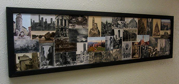 Old Postcards.... glued on a piece of wood, then framed with black moulding. Love it!