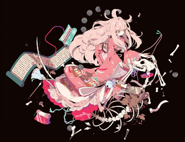 Konachan.com - 167030 blonde_hair bones brown brown_eyes japanese_clothes kimono leaves long_hair original shikimi_(yurakuru) skull.jpg (1142×876)