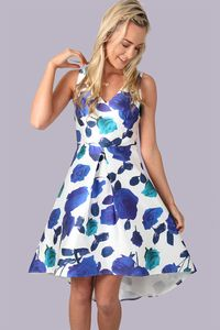 Off White Blue Floral Print Dip Hem Dress | Buy Dresses Online Ireland | Dress for Wedding Guest Ireland