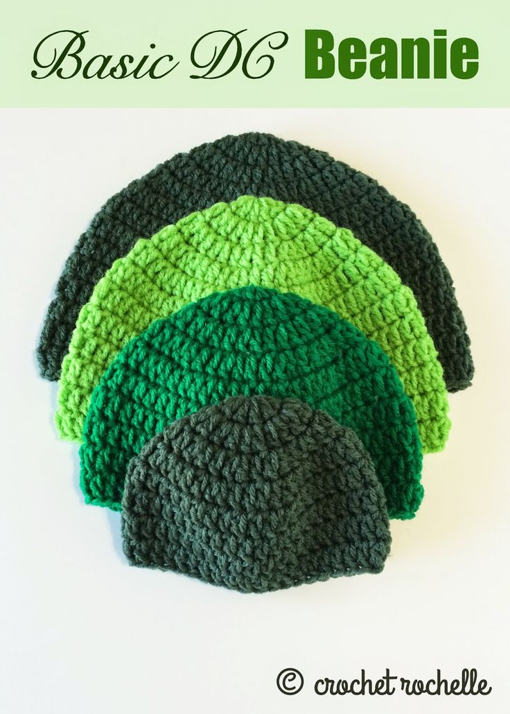 Basic DC Beanie Pattern - new from CrochetRochelle.com #crochet #freepattern
