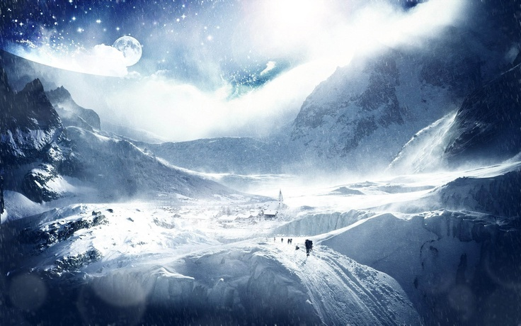 Download 1920x1200 trees, planet, earth, sky, stars, skiers, research Wallpaper Widescreen WallpapeprsCraft