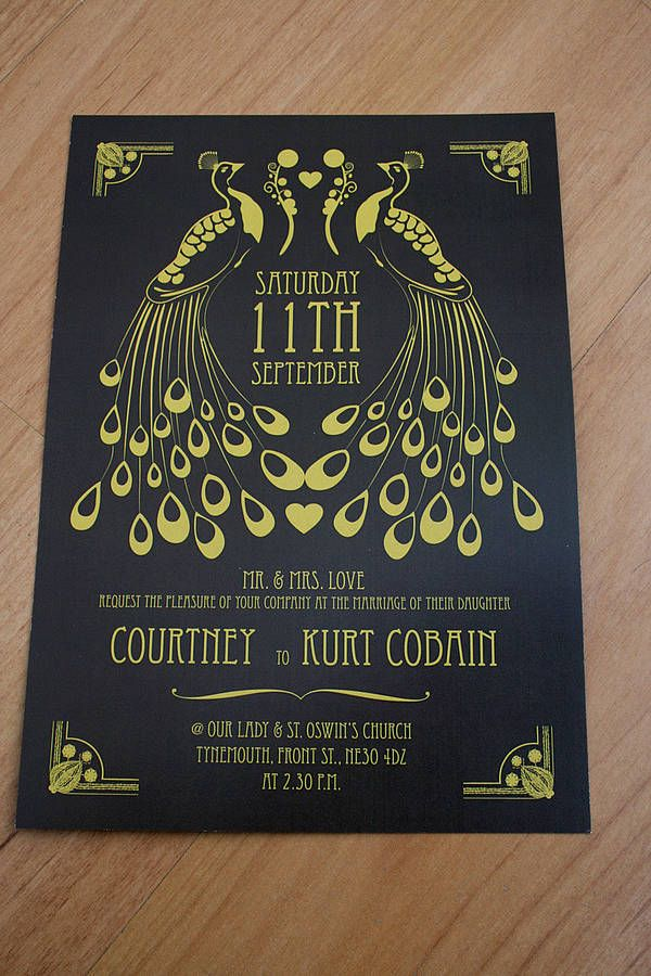Peacock Art Deco Wedding Invitation...instead of peacocks, use the birds that will be cake toppers