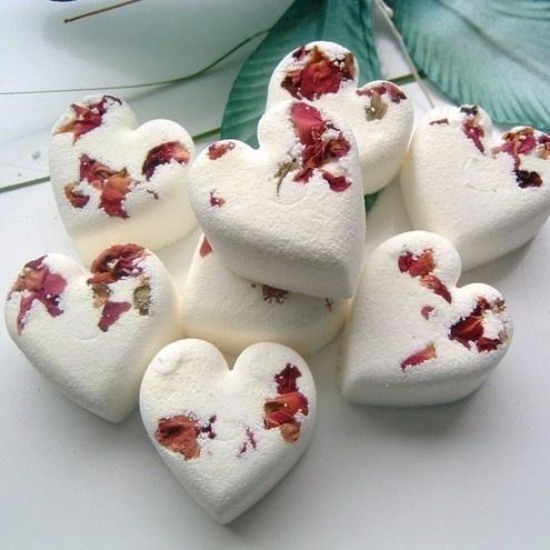 8 English Rose Heart Shaped Bath Bombs