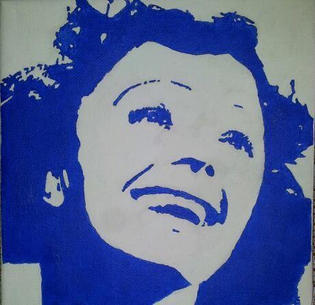 Edith Piaff in blauw-wit op een doek van 20 X 20 cm.