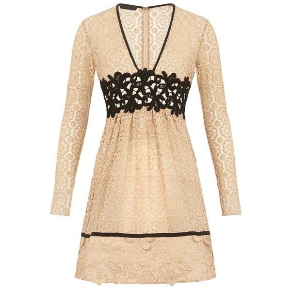 Burberry Patchwork Lace Dress ❤ liked on Polyvore featuring dresses, burberry, lacy dress, burberry dress, beige dress and patchwork dress