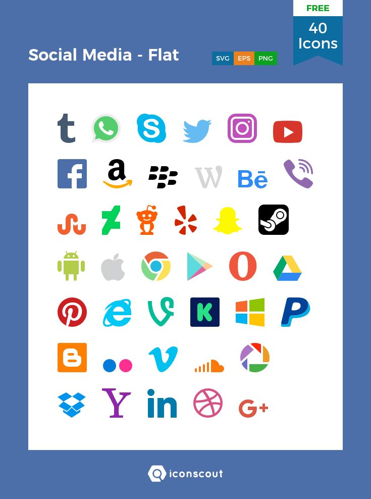Social Media - Flat Free  Icon Pack - 40 Flat Icons