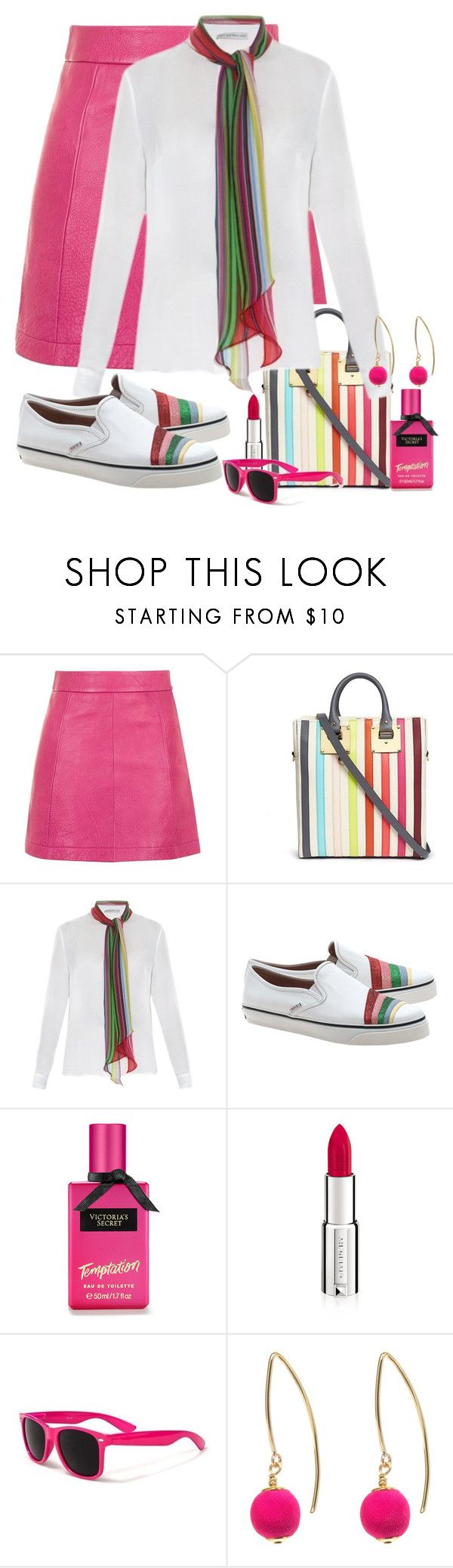 """""""Sophie Hulme 'Cromwell Mini' rainbow stripe canvas tote"""" by ann-kelley14 ❤ liked on Polyvore featuring Topshop, Sophie Hulme, Mary Katrantzou, RED Valentino, Victoria's Secret, Givenchy and Dorus Mhor"""