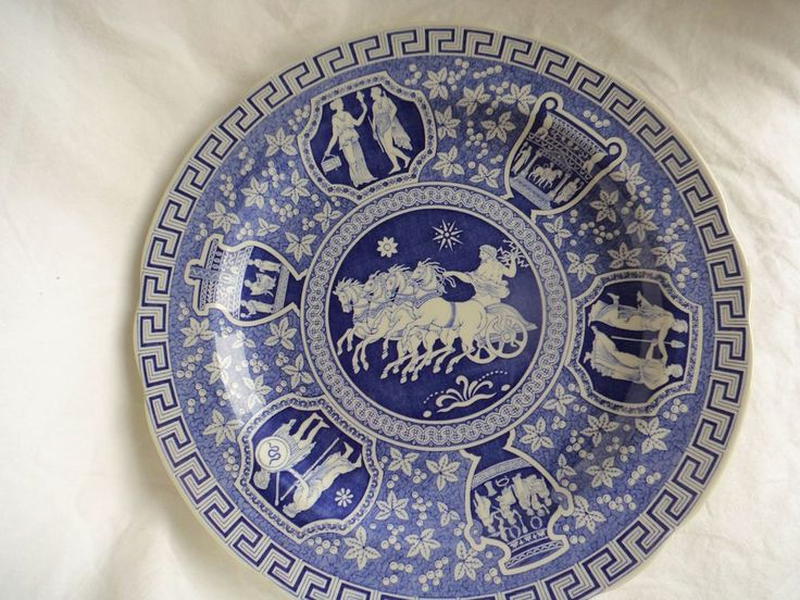 """Spode Blue Room Collection Traditions Series Dinner Plate """"Greek"""" Blue White Eng #Spode"""